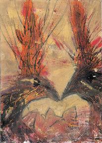 Vogel, Treffen, Feuer, Malerei