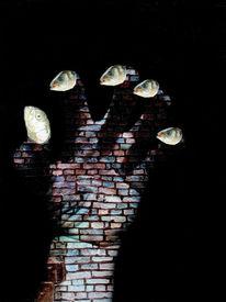 Schwarz, Fisch, Fische, Hand