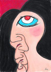 English lady, Schwarze haare, Gesicht, Illustrationen