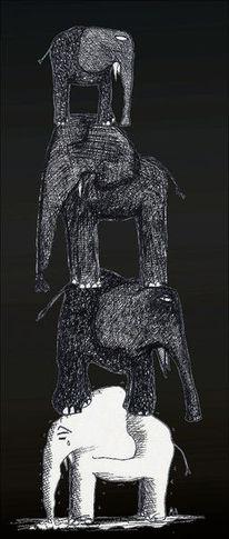 Schwarze elefanten, Jisbert, Tante fantel, Albtraum