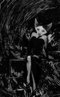 Ava gardner, Glasaquarell, Film noir, Chat noir
