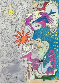Links, Hirnhälften, Rechts, Zeichnungen