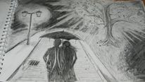 Regenschirm, Liebe, Laterne, Gehweg