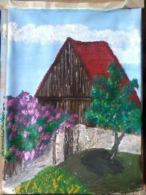 Bauernhaus, Alt, Malerei
