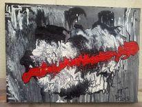 Weiß, Leitfaden, Rot schwarz, Malerei