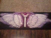 Lila, Kugel, Säule, Flügel