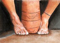 Barfuß, Fuß, Bein, Malerei