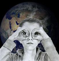 Mädchen, Augen, Zukunft, Erdball