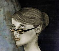 Doppelt sehen, Bleistiftzeichnung, Brille, Augen