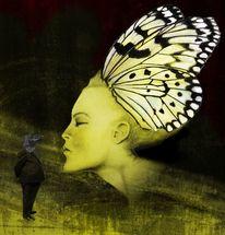 Rabenkopf bleistiftmalerei, Frau, Gelb, Schmetterling