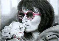 Kaffee, Katze, Brille, Frau