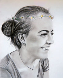 Gänseblümchen, Sommer, Mädchen, Zeichnungen