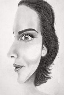 Bleistiftzeichnung, Frau, Gesicht, Schalter