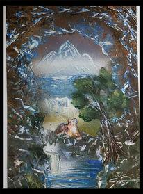See, Berge, Wasserfall, Hund