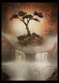 Baum, Wasserfall, Malerei