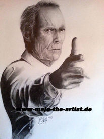 Grau, Portrait, Clint, Eastwood