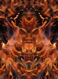 Fantasie, Lagerfeuer, Flammen, Spiegelbild
