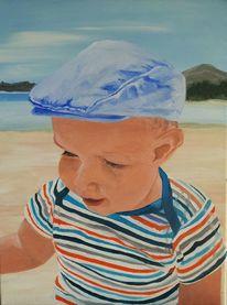 Kind, Streifen, Strand, Mütze