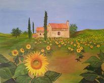 Gelb, Sonnenblume, Himmel, Zypresse