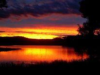 Schwarz, Sonnenuntergang, Orange, See