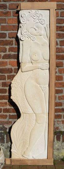 Mädchen, Stein, Holz, Akt