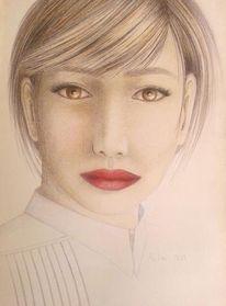 Mädchen, Rote lippen, Malerei, Lippen