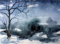 Winterlandschaft, Baum, Aquarell, Moor