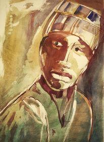 Afrika, Aquarellmalerei, Absprengtechnik, Portrait