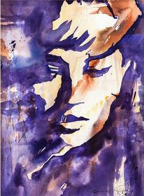 Violett, Frau, Portrait, Aquarellmalerei