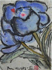 Blaue blüte, Japantusche, Selbstgeschöpftes papier, Grüne blätter