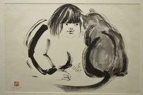 Sumi, Zeichnung, Kind, Katze