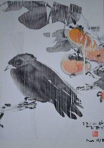 Rabe, Japanpapier, Früchte, Collage