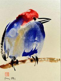 Blau, Rot, Sumi, Vogel