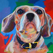 Porträtmalerei, Hund, Pop art, Acrylmalerei