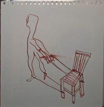 Stuhl, Fesseln, Freiheit, Malerei