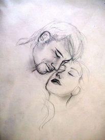Liebe, Zärtlichkeit, Paar, Malerei