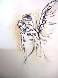 Religion, Engel, Flügel, Kohlezeichnung