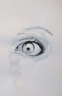 Schwarz weiß, Aquarellmalerei, Augen, Aquarell