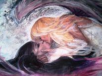 Kuss, Ölmalerei, Liebe, Engel
