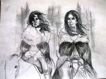 Frau, Reiter, Pferde, Bleistiftzeichnung