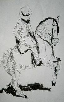 Pferde, Reiter, Tuschmalerei, Zeichnungen