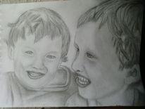 Bleistiftzeichnung, Zeichnung, Kinder, Portrait