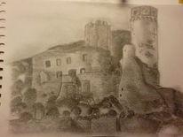 Ruine, Bleistiftzeichnung, Zeichnung, Ehrenfels