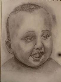 Baby, Kind, Bleistiftzeichnung, Portrait