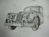Bleistiftzeichnung, Auto, Oldtimer, Zeichnungen