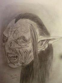 Portrait, Bleistiftzeichnung, Orks, Zeichnungen