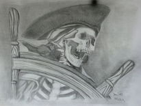 Skelett, Bleistiftzeichnung, Zeichnung, Pirat