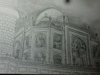 Bauwerk, Moschee, Bleistiftzeichnung, Taj mahal