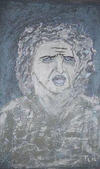 Portrait, Spachteltechnik, Leiser schrei, Verzweiflung