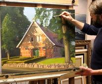 Haus, Malerei, Baum, Der wald